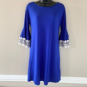 Judith March Royal Blue Dress w/ Lace Bell Sleeves